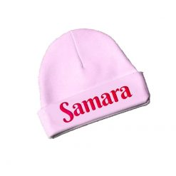 New Born baby Beanie with Name pink