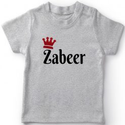 Customized-Name-with-Crown-Unique-T-Shirt-Grey